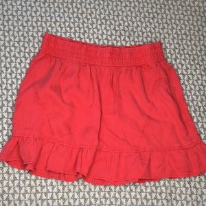 Athleta red ruffle skirt shorts lining pocket M